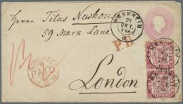 Baden - Ganzsachen: 1866, GA-Umschlag 3 Kr. Blassrosa, Rauhes Papier Mit Zusatzfrankatur 1868, Paar 3 Kr. (einige Zahnsp - Baden