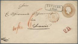 """Baden - Ganzsachen: 1863, 9 Kr. Ganzsachenumschlag Mit Stempel """"TRYBERG 12.OKT.(65)"""" Als Auslandsbrief Mit Rotem L1 """"P.D - Baden"""