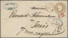 """Baden - Ganzsachen: 1863, 9 Kr. Ganzsachenumschlag Mit Stempel """"KEHL 29.MAI.(65)"""" Als Auslandsbrief Mit Rotem L1 """"P.D."""" - Baden"""