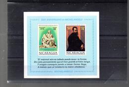 NICARAGUA BLOC 119**  SUR LE 500E ANNIVERSAIRE DE MICHEL ANGE