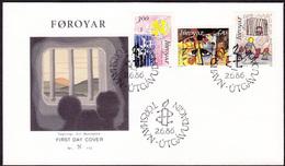 FAROE 1986 «Amnesty International 25th Anniv.» Mi# 136-38 FDC Complete Set - Perfect Condition