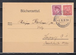 """Sudetenland Vordruckkarte """"Bücherzettel"""" MiF CSSR Mit Befreiungs-o Warnsdorf 2.10.38 Nordböhmen"""