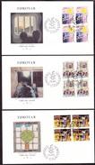 FAROE 1986 «Amnesty International 25th Anniv.» Mi# 136-38 FDC Complete Set Blocks Of Four - Perfect Condition