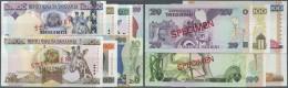 Tanzania / Tansania: Set Of 8 Different SPECIMEN Banknotes Containing 10, 20, 100, 200, 500, 1000, 5000 And 10.000 Shill - Tanzania