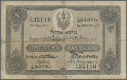 Thailand: 1 Tical ND(1918-25) Government Of Siam P. 14, Stonger Center And Horizontal Fold, Small Center Hole, Not Washe - Thailand