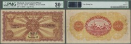 Thailand: 100 Baht 1930 P. 21b, Rare Hight Denomination Note Of The Government Of Siam, PMG Graded 30 VF NET. - Thailand