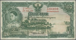 Thailand: 20 Baht 1936 P. 29, 3 Vertical And One Horizontal Fold, Pressed, No Holes Or Tears, Still Strong Paper And Nic - Thailand