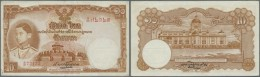 Thailand: 10 Baht 1939 P. 35a, 3 Light Vertical Folds, No Holes Or Tears, Paper With Original Crispness, Condition: VF+. - Thailand