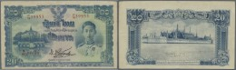 Thailand: 20 Baht ND(1942) P. 49a, Seldom Seen Note, Stronger Vertical And Horizontal Fold, Pressed, No Holes, Still Nic - Thailand