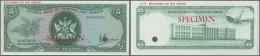 Trinidad & Tobago: 5 Dollars ND(1977) Specimen P. 31s, Zero Serial Numbers And Specimen Overprint, Cancellation Hole - Trinidad & Tobago