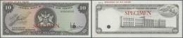Trinidad & Tobago: 10 Dollars ND(1977) Specimen P. 32s, Zero Serial Numbers And Specimen Overprint, Cancellation Hol - Trinidad & Tobago