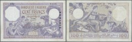Tunisia / Tunisien: 100 Francs 1933 P. 10b, Used With Folds, Pressed, Very Light Staining, No Holes, No Tears, Still Som - Tunisia