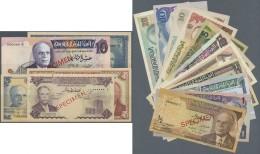 Tunisia / Tunisien: Set Of 16 SPECIMEN Banknotes Containing 1/2 Dinar ND(1958), 1 Dinar 1965, 1/2 Dinar 1965, 5 Dinars 1 - Tunisia