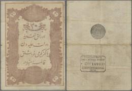 Turkey / Türkei: 20 Kurush 1876 P. 43, Three Vertical And One Horizontal Fold, Causing A Small Center Hole, 2 Minor - Turkey