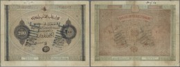 Turkey / Türkei: 200 Piastres 1867 P. 55b, Strong Center Fold Which Causes Tears In Paper Along The Fold, Writing O - Turkey