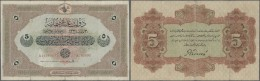 Turkey / Türkei: 5 Livres 1915 P. 70, Used With Several Folds And Border Tears, One Larger Tear (2,5 Cm Repaired), - Turkey