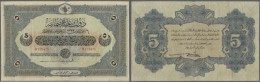 Turkey / Türkei: 5 Livres 1916 P. 91, Vertically Folded Several Times, No Holes Or Tears, Still Stong Paper, Condit - Turkey