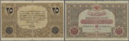 Turkey / Türkei: 25 Livres 1917 P. 105, Very Rare Note, Stronger Used With Worn Borders, Strong Center Fold, Timmed - Turkey