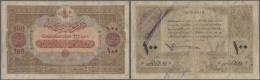 Turkey / Türkei: 100 Livres 1917 P. 106, Very Rare Issue And High Denomination, Stronger Used, Several Writings On - Turkey