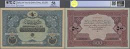 """Turkey / Türkei: Highly Rare Specimen Note 500 Livres ND(1918) AH1334 P. 107Bs, 2 Times Perforated """"Druckprobe"""", St - Turkey"""