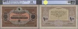 "Turkey / Türkei: Highly Rare Specimen Note 100 Livres ND(1918) AH1334 P. 113s, 2 Times Perforated ""Druckprobe"", Spo - Turkey"