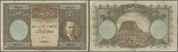 Turkey / Türkei: 50 Livres ND(1927) P. 122a, Strong Center Fold, 2 Further Vertical And One Horizontal Fold, One Ho - Turkey