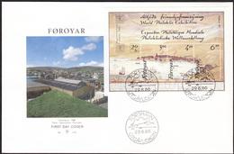 FAROE 1986 «Hafnia 87 Stamp Exhibition» Mi# 139-41 = Bl.2, FDC Souv.block - Perfect Condition
