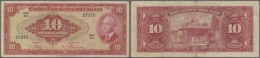 Turkey / Türkei: 10 Lira ND(1947) P. 147a, Used With Folds But No Holes Or Tears, Nice Colors, Condition: F. - Turkey