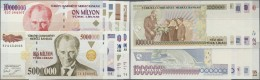 Turkey / Türkei: Set Of 10 Notes Containing All Higher Denominations Of The Early 1990s From P. 205-213 As Well As - Turkey