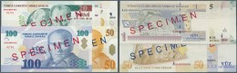 Turkey / Türkei: Series Of 6 Specimen Banknotes Containing 1, 5, 10, 20, 50 And 100 Lira 2005 Specimen P. 216s-221s - Turkey