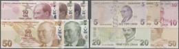 Turkey / Türkei: Set Of 5 Different Notes Containing 5, 10, 20 And 50 Lira 2009 P. 222-225 And 5 Lira 2009 P. 228, - Turkey