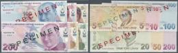 Turkey / Türkei: Series Of 6 Different Specimen Banknotes Containing 5, 10, 20, 50, 100 And 200 Lira 2009 Specimen - Turkey