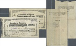 Ukraina / Ukraine: Odessa Set With 5 Cheques Including The Very Rare Issues Of The State Bank 100 And 500 Rubles 1918 An - Ukraine
