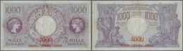 Yugoslavia / Jugoslavien: 1000 Dinara = 4000 Kronen ND(1919), P.20, Small Repaired Tear At Left Border, Tiny Pinhole At - Yugoslavia