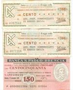 93 - N. 3 MINIASSEGNI - Monete & Banconote