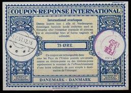 DANMARK / DENMARK London Type XVIn 75 ORE Int. Reply Coupon Reponse Antwortschein Svarkupon IRC IAS O ABYHAVN 1957 / USA