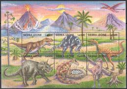 SS76 SIERRA LEONE PREHISTORIC ANIMALS DINOSAURS REPTILIES 1KB MNH