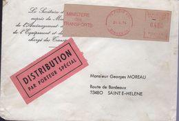 Lettre Distribution Par Porteur Spécial De 75 Paris XVI Ministère Des Transports 24 4 74 Machine De Guichet - Storia Postale