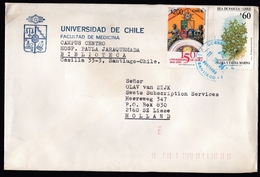 Chile: Cover To Netherlands, 1994, 2 Stamps, Sea Life, Coral, University, Sent By Same University! (minor Damage) - Chili