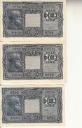 """Banconote Da 10 Lire Lotto Di 3 Biglietto_ N°0792 Serie 270792/519193/194-"""" 2 SCANSIONI- - Italia"""