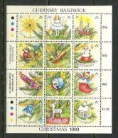JAP M52 GB Guernsey 1989 MNH M/s Christmas Tree Decors CV 5 Eur