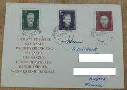 RDA 1960 N° YT 479 480 481 / Souvenir Des Antifacistes De Sachsenhausen / Enveloppe Réunification Nationale