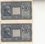 """Banconote Da 10 Lire Lotto Di 2 Biglietto_ N°0518 Serie 229311/312-"""" 2 SCANSIONI- - Italia"""
