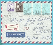 848A+1029 Op Brief Aangetekend Per Luchtpost (avion) Stempel GANSHOREN Naar KATANGA (Rep. Congo)