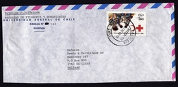 Chile: Airmail Cover To Netherlands, 1990, 1 Stamp, Red Cross, Medical Aid, Health (shortened At 2 Sides, See Scan) - Chili