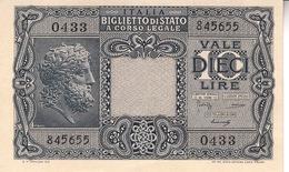 """Banconote Da 10 Lire Lotto Di 1 Biglietto_ N°0433 Serie 845655-"""" 2 SCANSIONI- - Italia"""