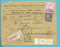 848A+1067 Op Brief Aangetekend Met AR Stempel BRUXELLES 37 Naar SCHAARBEEK ,strookje ABSENT..+NON RECLAME..
