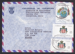 Chile: Airmail Cover To Netherlands, 1985, 3 Stamps, Military Order Of Malta, Flags Of America, Heraldry (minor Damage) - Chili