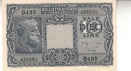 """Banconote Da 10 Lire Lotto Di 1 Biglietto_ N°0435 Serie 426692-"""" 2 SCANSIONI- - Italia"""