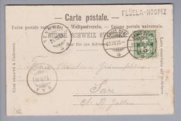 Heimat CH GR Flüela-Hospiz 1900-07-23 Langstempel Auf Ansichtskarte Nach Sax